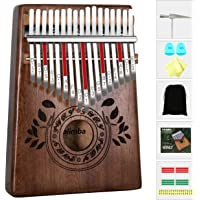 UNOKKI Kalimba 17 Keys Thumb Piano with Study Instruction and Tune Hammer, Portable Solid African Wood Finger Piano, Kids Adult Beginners (Chocolate Brown).