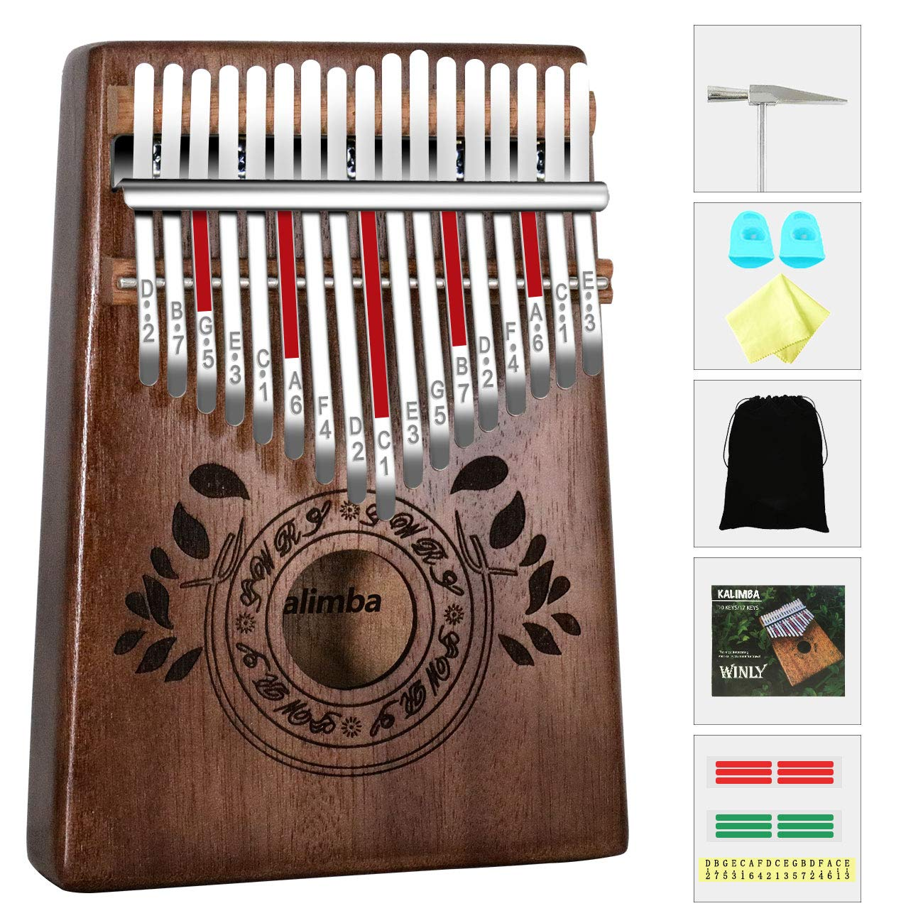 UNOKKI Kalimba 17 Keys Thumb Piano with Study Instruction and Tune Hammer, Portable Solid African Wood Finger Piano, Gift for Kids Adult Beginners (Chocolate Brown). by UNOKKI (Image #1)