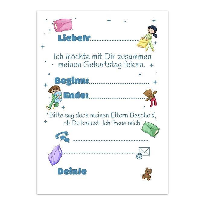16 Einladungskarten Zum Kindergeburtstag Mit Ubernachtung Fur