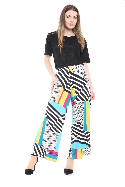 beb5e7c1ea86 WearAll Plus Size Womens Plain Palazzo Wide Leg Flared Ladies Trousers Pants  - 16-26  Amazon.co.uk  Clothing