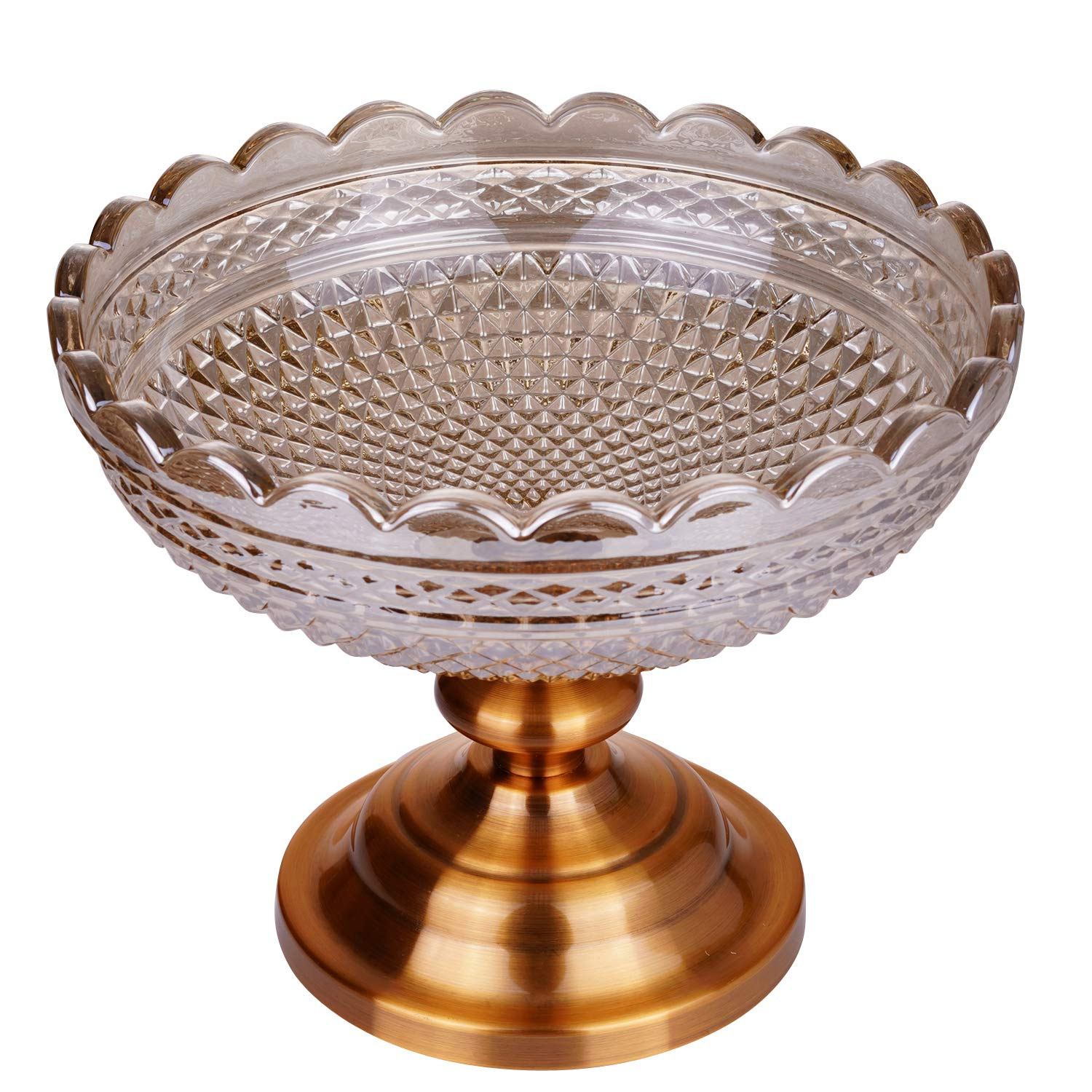 Fruit Tray, Fruit Bowl, Cake Stand, Serving Platter With Round Glass Plate and Antique Gold Metal Pedestal Dessert Cupcake Display Holder for Birthday, Party, Wedding, Home (Golden)