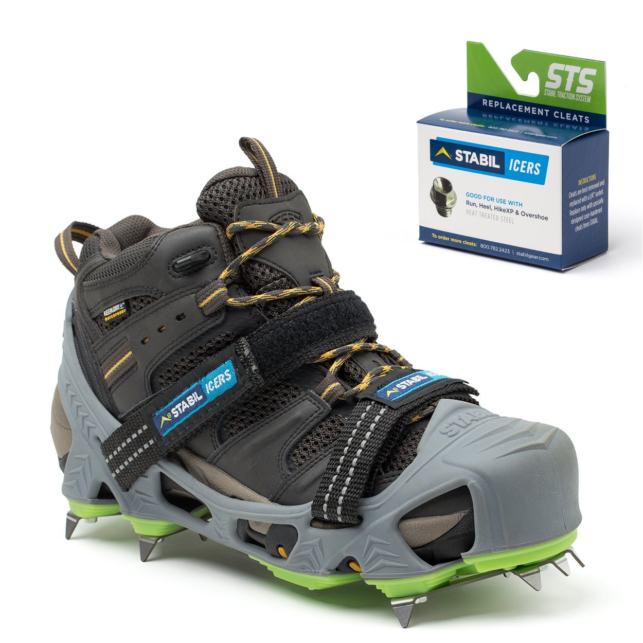 STABILicers HIKE Macro, Made in USA, High Performance Snow and Ice Traction Cleats for Shoes and Boots, 25 Replacement Cleats Included, Gray/Green, Size LG