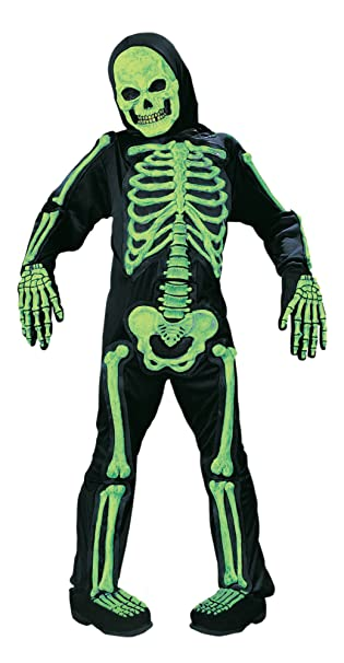 Amazon.com: Kids Scary Green Bones Skeleton Boy Halloween Costume ...