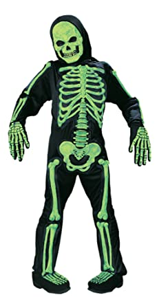 kids scary green bones skeleton boy halloween costume medium 8 10