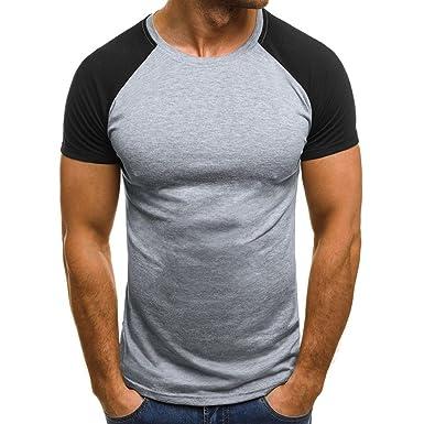 28df94bdcae Pervobs Men Shirts Clearance! Men Muscle T-Shirt Slim Casual Fit Short  Sleeve Patchwork