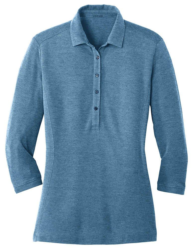 Joe's USA Ladies Coastal Cotton Blend Polo-M-RiverBlueNavy/CarolinaBlue