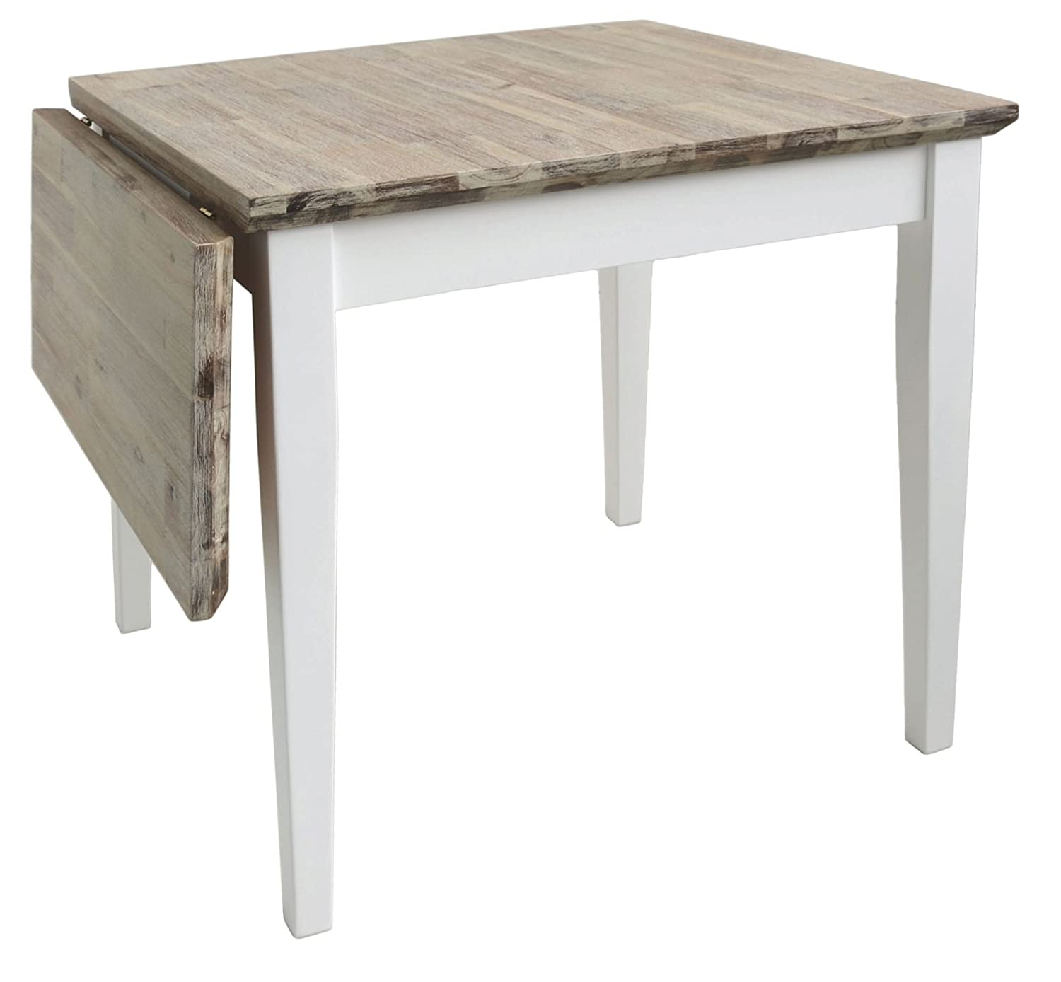 Florence square extended table (75-110cm). White extending kitchen table. Quality extending table with thick wooden top. Statement Furniture
