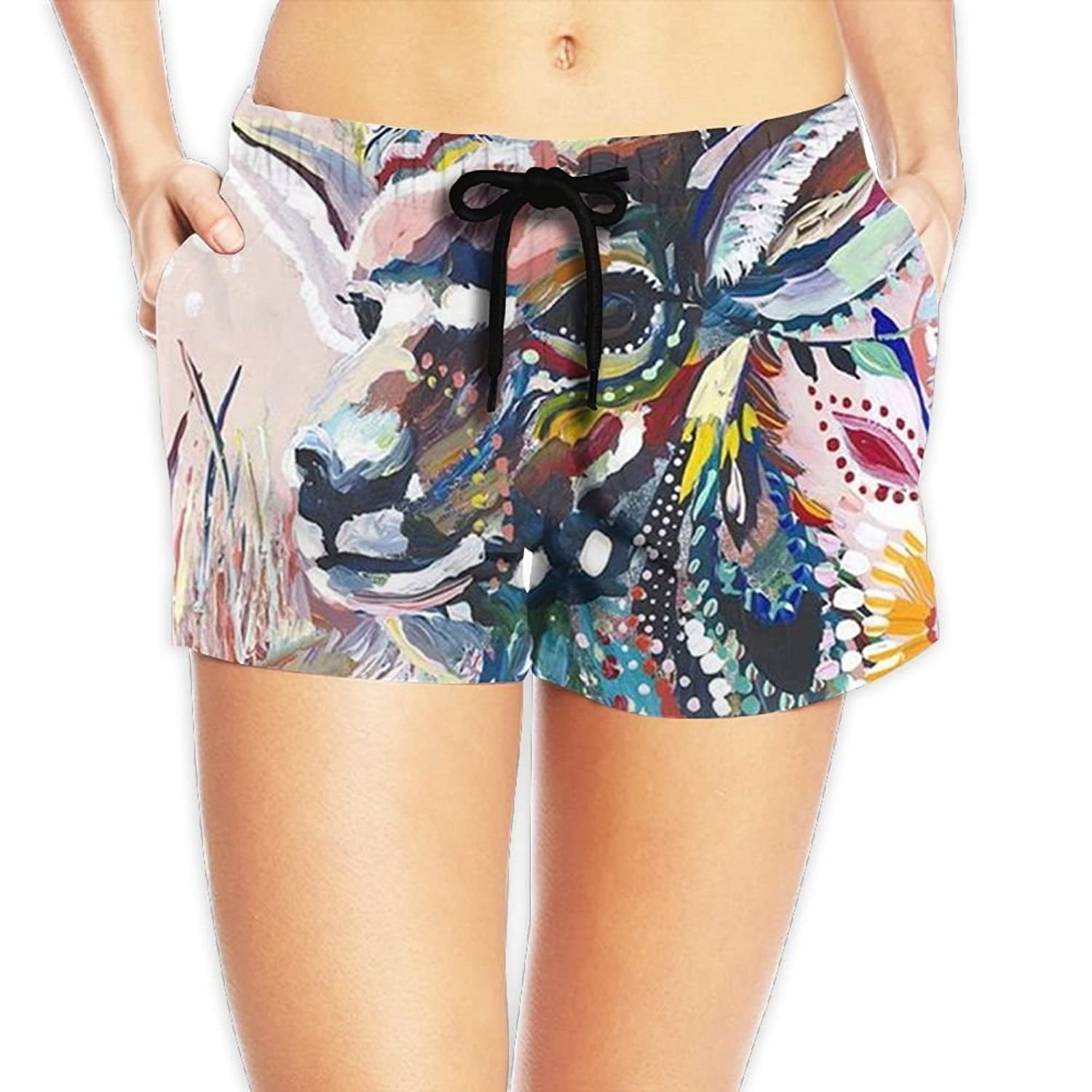 StarRevolution Women's Colorful Animal Goat Swim Trunks Beach Shorts With Pockets