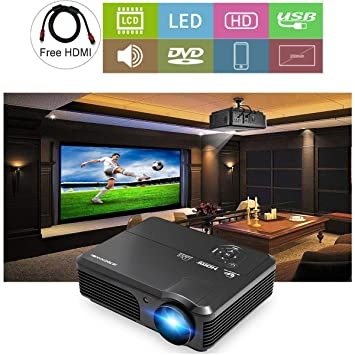 CAIWEI Proyector de video HD 1080P 4200 Lumen Pantalla LCD LED ...