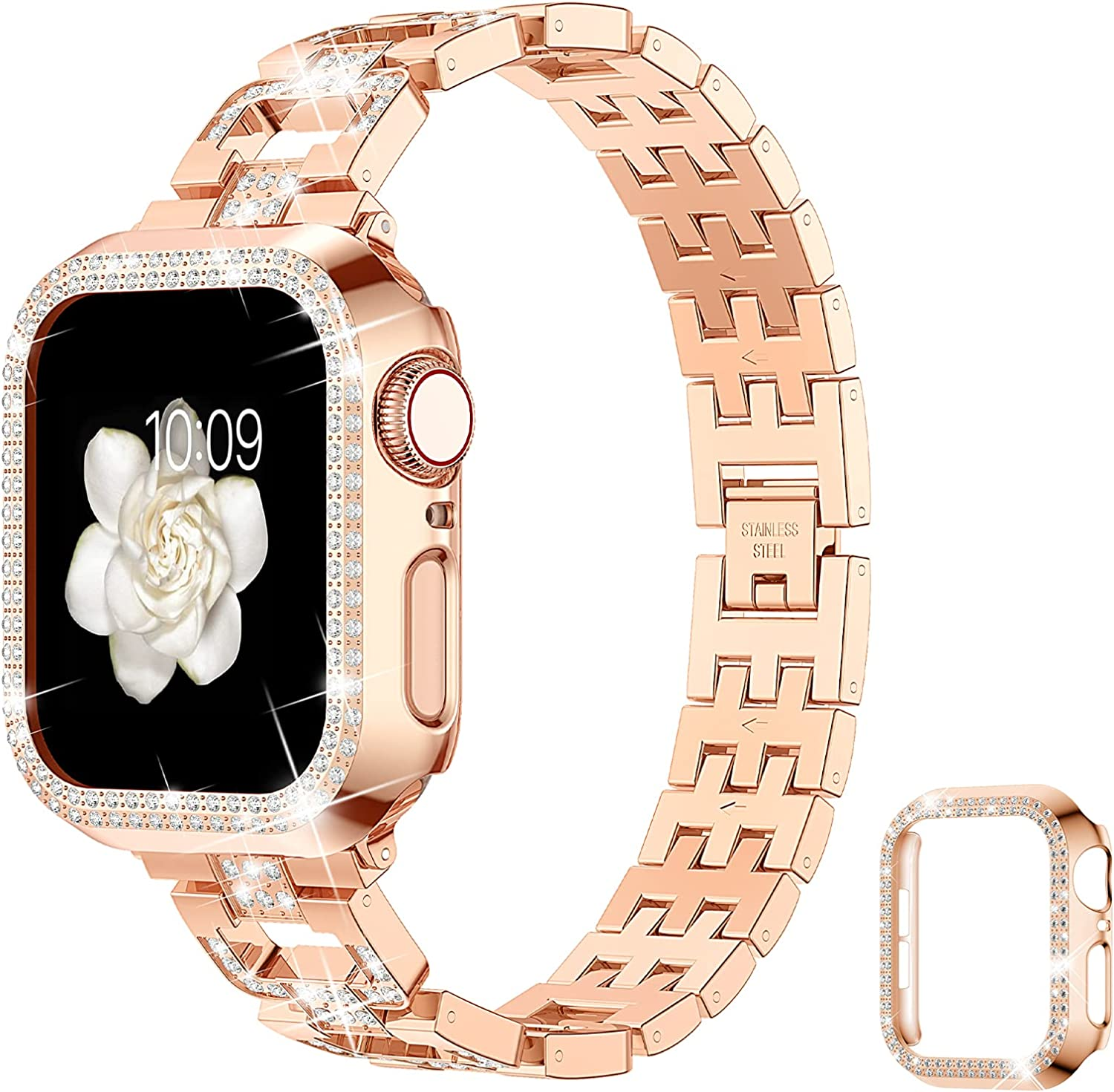 Goton Bling Band & Bumper Case Compatible with Apple Watch 38mm, Women Diamond Metal Wristband Strap with Cover for iWatch Series 3/2/1 (Rose Gold,38mm)