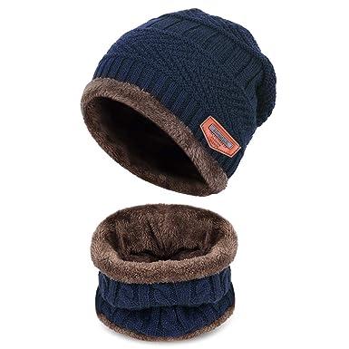 6edcde47d5a Petrunup Ensemble Bonnet et Écharpe en Tricot d hiver pour Enfant 2 Pièces  Bonnet de