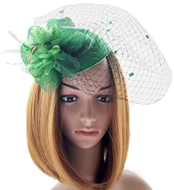 f18909f5a52 fascinator hats pillbox hat british bowler hat flower veil wedding hat tea  party hat (green)  Amazon.in  Clothing   Accessories