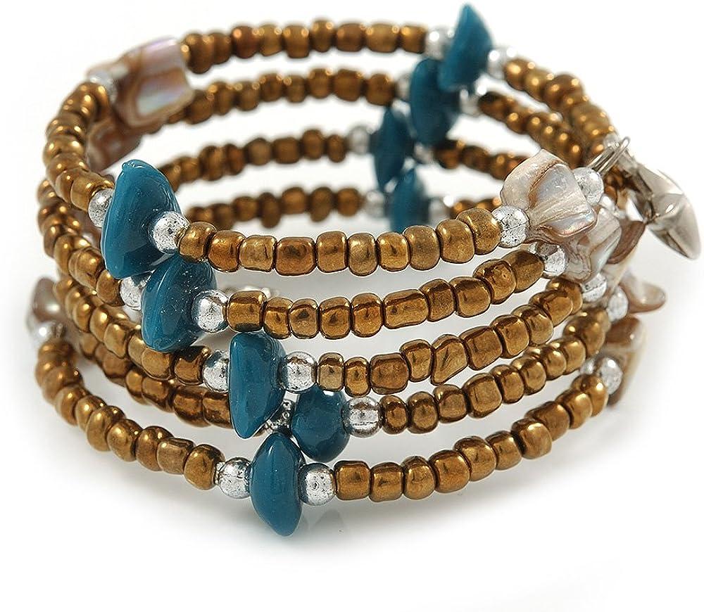 Avalaya - Pulsera flexible con cuentas de cristal de bronce, color verde azulado, color blanco envejecido, con múltiples hilos, ajustable