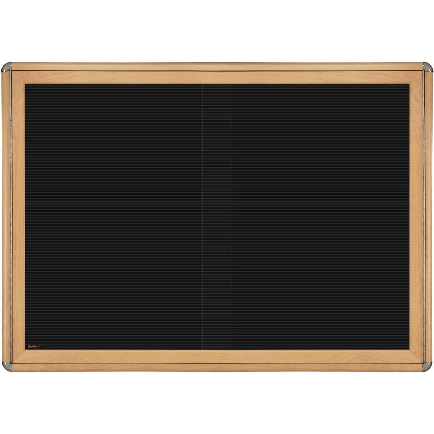 Ovation 2 Sliding Door Wood Look Felt Wall Mounted Letter Board, 3' H x 4' W Frame Finish: Maple, Surface Color: Black, Color: Chrome