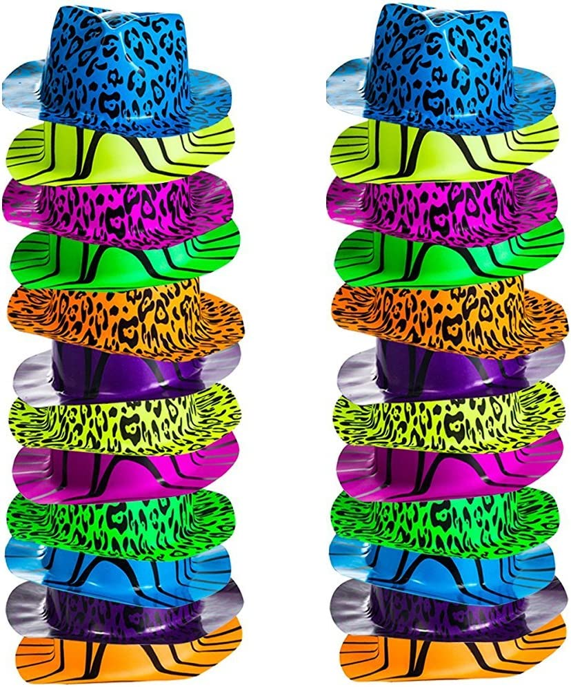 Neon Party Hats - 24 Pack - Plastic Gangster Hats - 80s Party Hats - Animal Print Party Hats by Funny Party Hats: Health & Personal Care