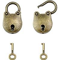 Mobc i 2 stuks hangsloten antiek vintage met sleutel, antiek slot mini hangslot met berenvorm voor juwelendoosje en…