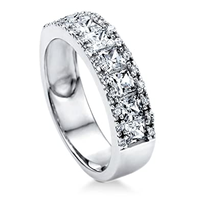 BERRICLE Rhodium Plated Sterling Silver Cubic Zirconia CZ Anniversary Eternity Band Ring XmRDNj