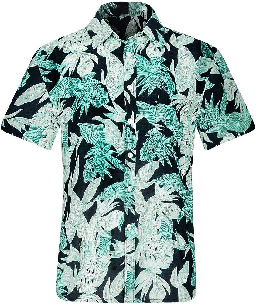 iCKER - Camisa hawaiana de playa para hombre, manga corta, diseño floral, estilo casual, ajuste regular Azul azul S: Amazon.es: Ropa y accesorios