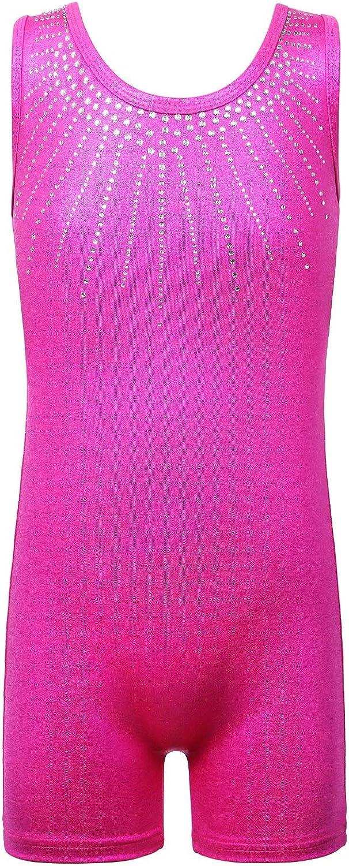 BAOHULU Girls Gymnastics Leotards Shiny Jewels Tank Biketards with Shorts