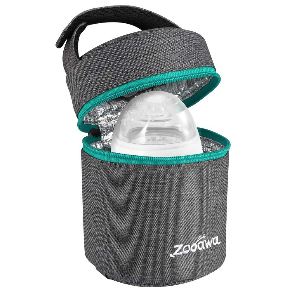 Zooawa Breastmilk Baby Bottle Cooler & Travel Bag, Portable Breast Milk Storage Insulated Baby Bottle Carrier Tote Bag for Bottles, On The Go, Outdoor Use, Ice Pack Not Included - Dark Gray