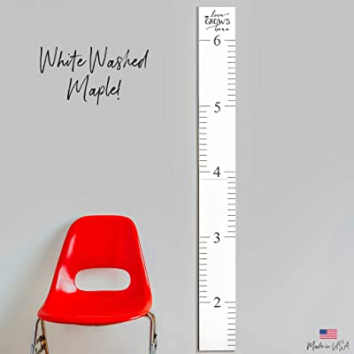 Wooden Ruler Growth Charts Ruler for Boys and Girls (Love Grows White Washed): Baby
