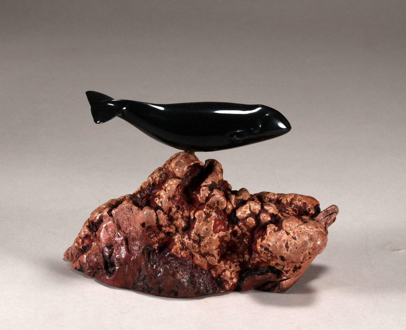 BOWHEAD WHALE Sculpture New direct from JOHN PERRY 5in Ebonite Figurine Decor