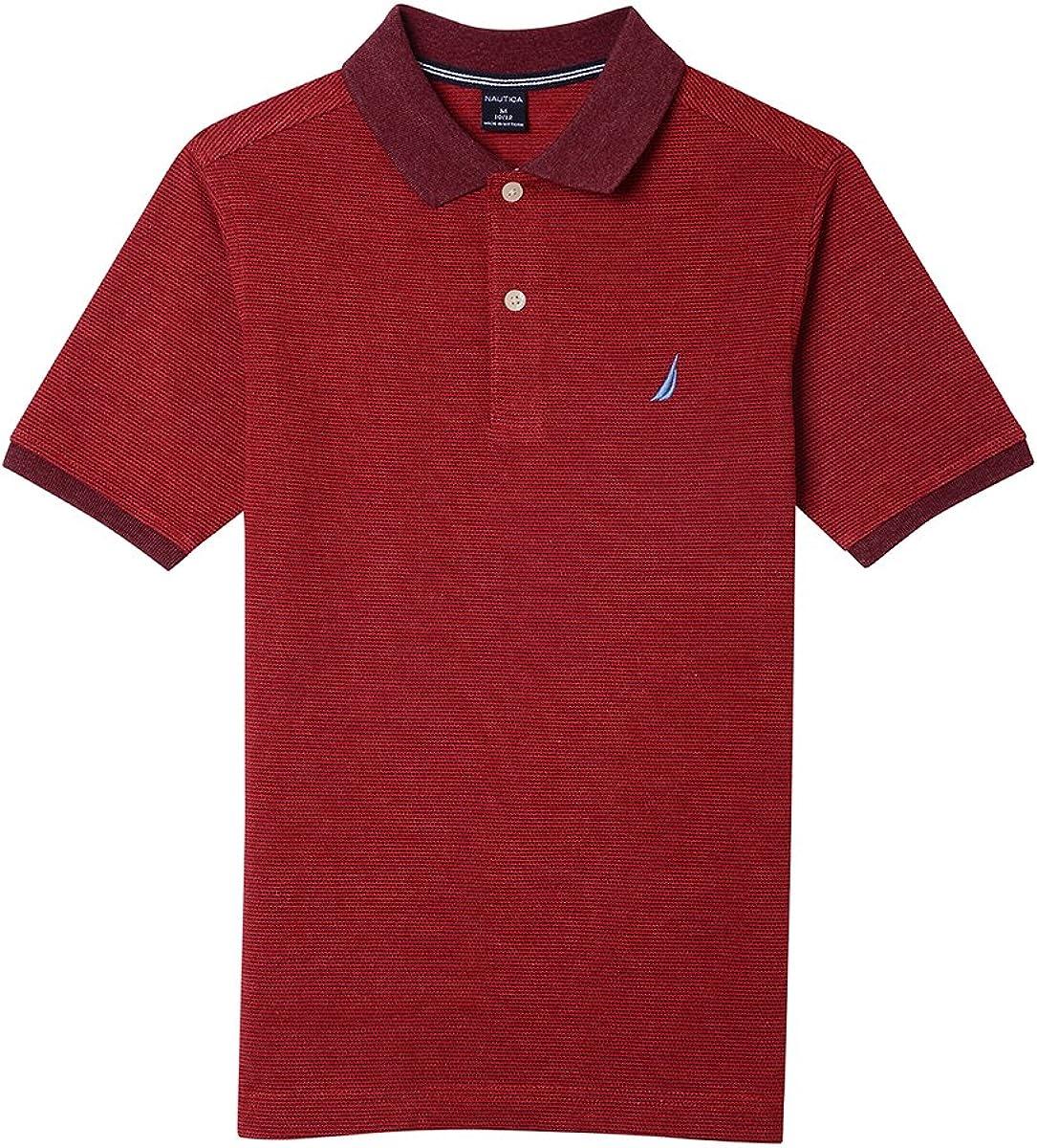 Nautica Boys Short Sleeve Port Ottoman Stripe Polo Polo Shirt