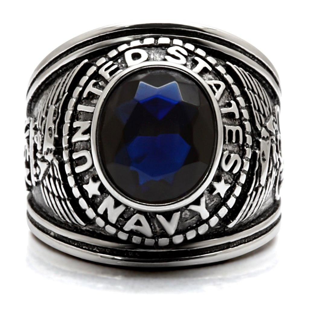 46221b47746 ISADY - US Navy Saphir - Bague Homme - Chevalière - Acier - Oxyde de  zirconium bleu
