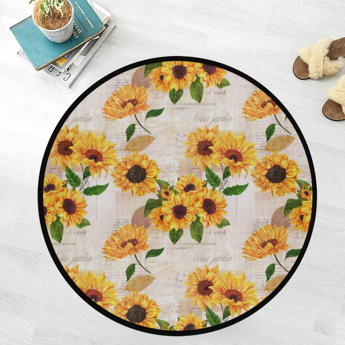 Naanle Floral Flower Anti Fatigue Round Area Rug, Watercolor Sunflower Non Slip Absorbent Comfort Round Rug Floor Carpet Yoga Mat for Entryway Living Room Bedroom Sofa Home Decor (3' in Diameter)