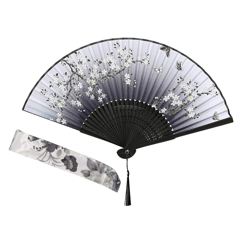 Gwhole /Éventail Pliant en Soie et Bambou de Style Japonais pour Danser Mariage F/ête Bureau Mur D/écoration
