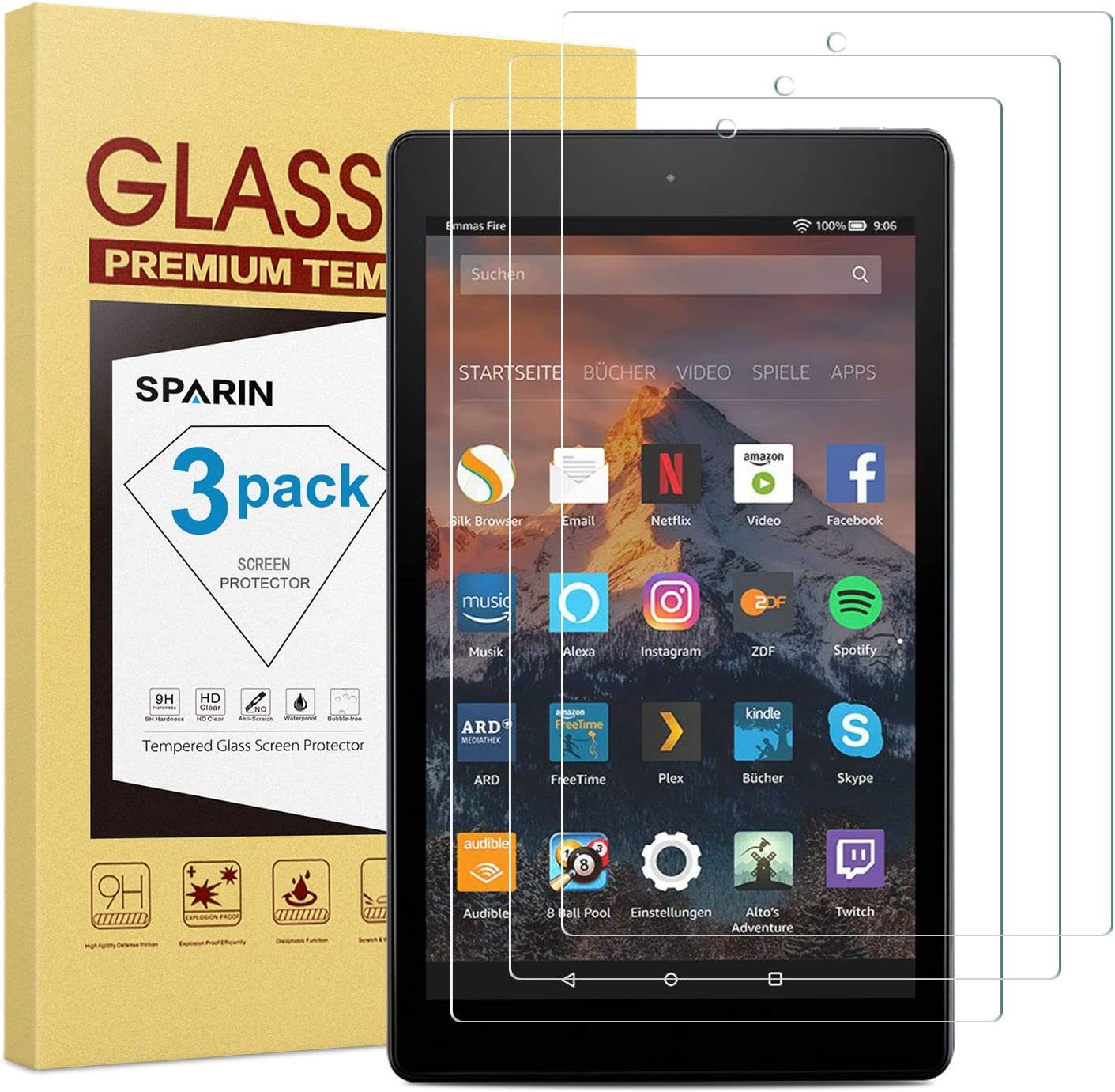 "Tempered Glass Screen Protector for Amazon Fire HD 8/"" Tablet 7th Gen 2017 Rel"