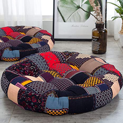 HIGOGOGO Boho Floor Pillow, Bohemian Patchwork Style Meditation Pillow Round Seat Cushion Yoga Cushion India Seating Pad for Living Room Bedroom ...