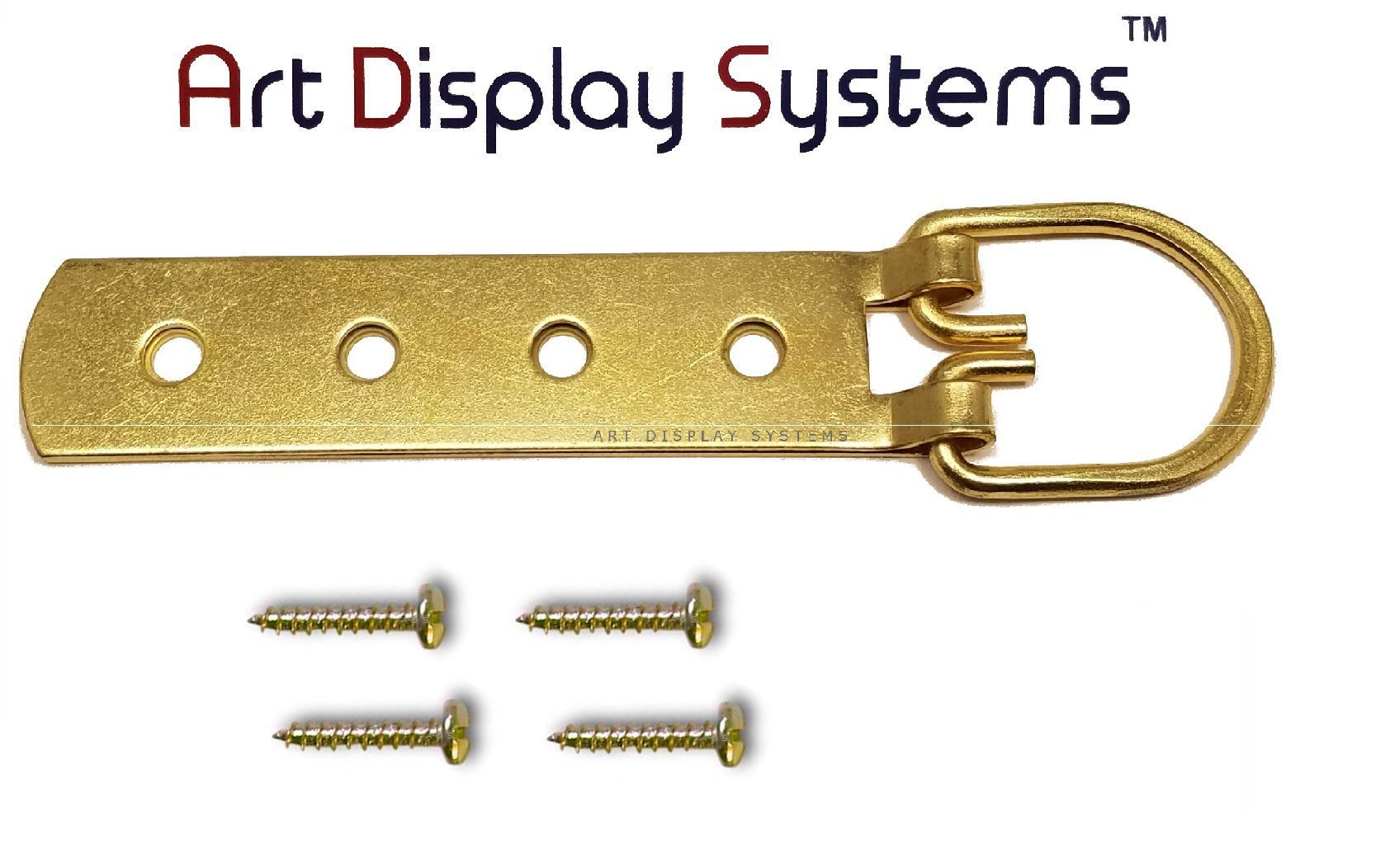 ADS Super Heavy Duty Extra Large Strap Hanger - 4 Hole Brass Plated D-Ring Hanger - 2 Pack by ART DISPLAY SYSTEMS
