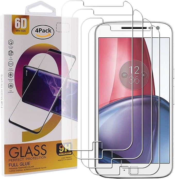 Guran 4 Paquete Cristal Templado Protector de Pantalla para Motorola Moto G4 Plus Smartphone 9H Dureza Anti-Ara?azos Alta Definicion Transparente Película: Amazon.es: Electrónica