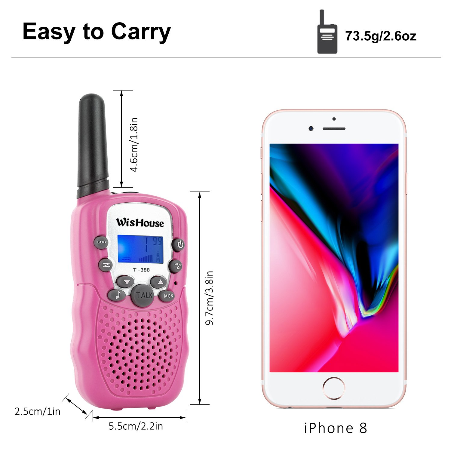Wishouse Walkie Talkie Kids Toy Set,Best Gifts Easy use Two Way Radios for Girls, 22 Chanels 3 Miles Long Range Cool Vox walky Talky for Camping Hiking Fishing Outdoors(T388 Pink, 2 Pairs) by Wishouse (Image #5)