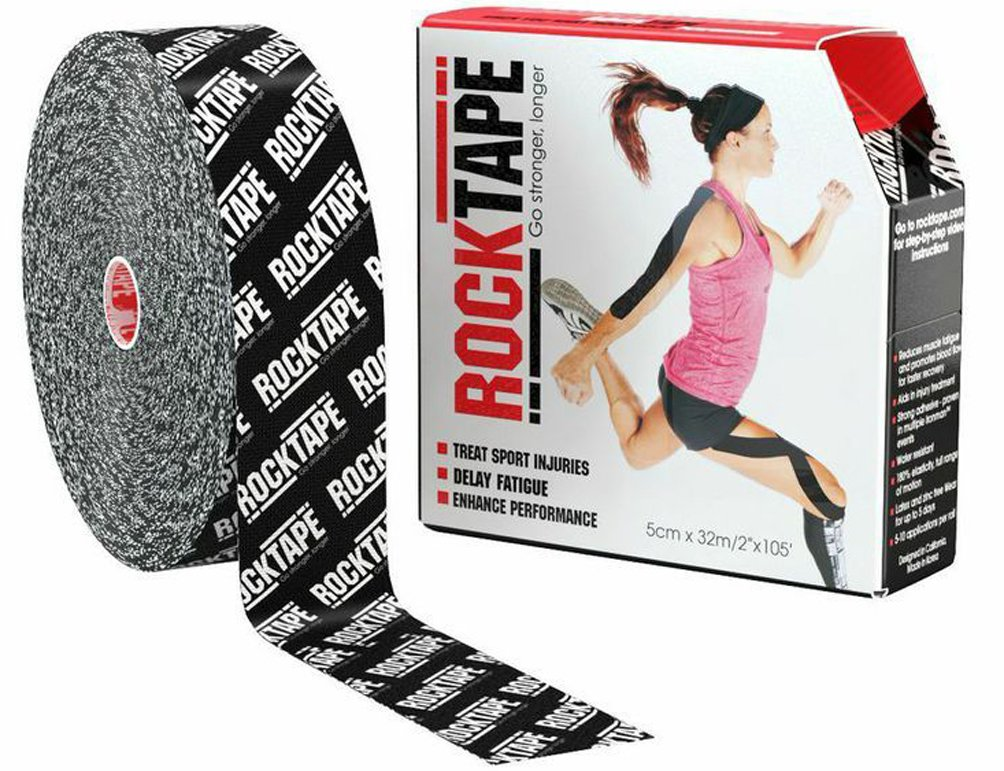 RockTape Uncut BULK Kinesiology Tape For Athletes - 2'' X 105' Roll - Black Logo