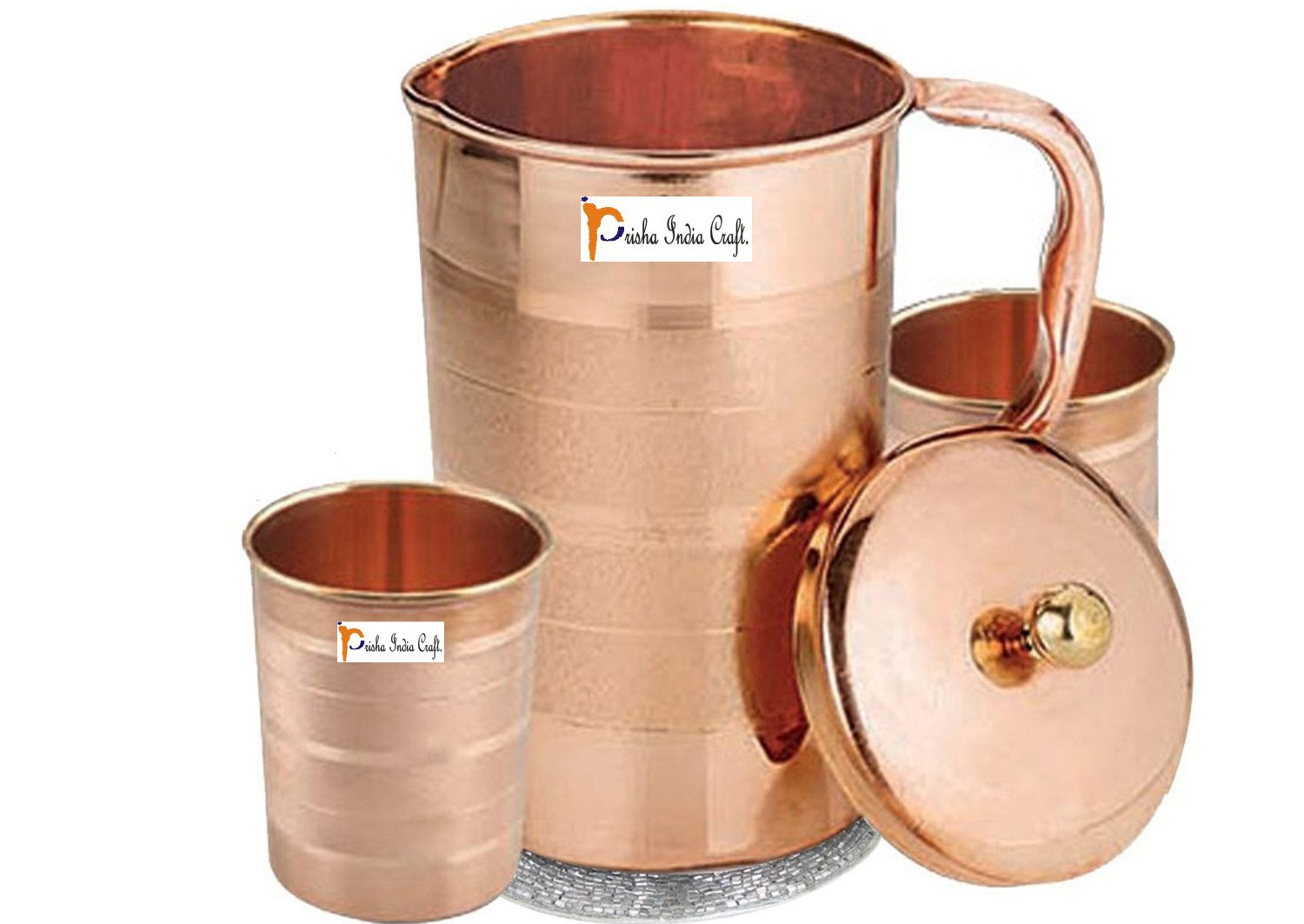 Prisha India Craft Pure Copper Pitcher with Lid and Tumbler Set of 2/Designer Water Jug with Ayurvedic Health Benefits/Decanter Set for Drinking Water/Drinkware Accessory, 1.6 Litre