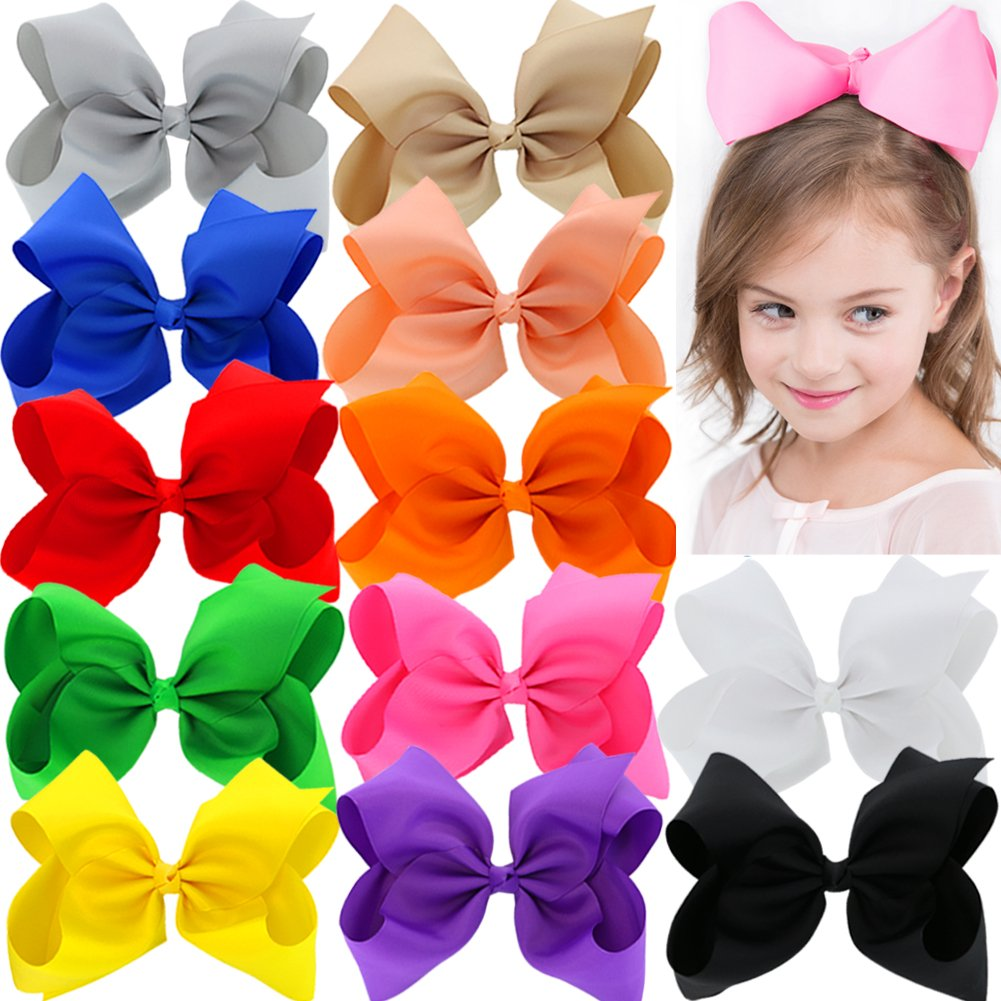 12 colors 8 inch Large Grosgrain Ribbon Hair Bows With Alligator Clips For Girls