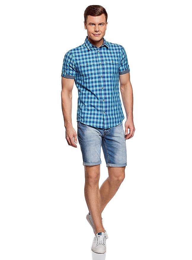 oodji Ultra Hombre Camisa a Cuadros con Dobladillos en Las Mangas: Amazon.es: Ropa y accesorios