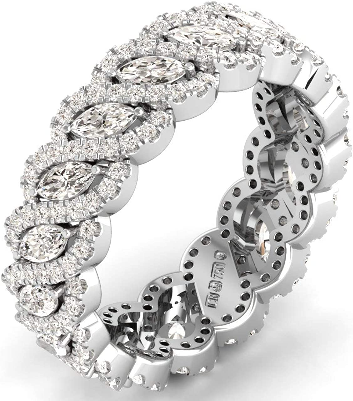 F/VVS Anillo de boda de 2,00 quilates con diamantes redondos y marquesa en platino 950, con sello de Assay Office London.