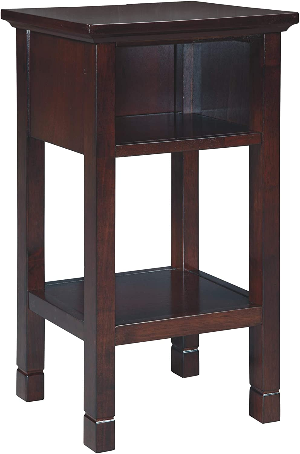 Signature Design by Ashley - Marnville Accent Table - With USB Hook-Up - Contemporary - Reddish Brown