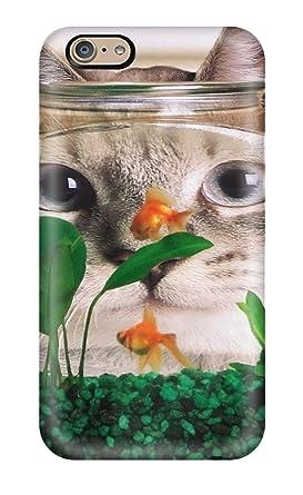 iphone 6 rígida con de Tpu funda gato detrás de una pecera de gatos