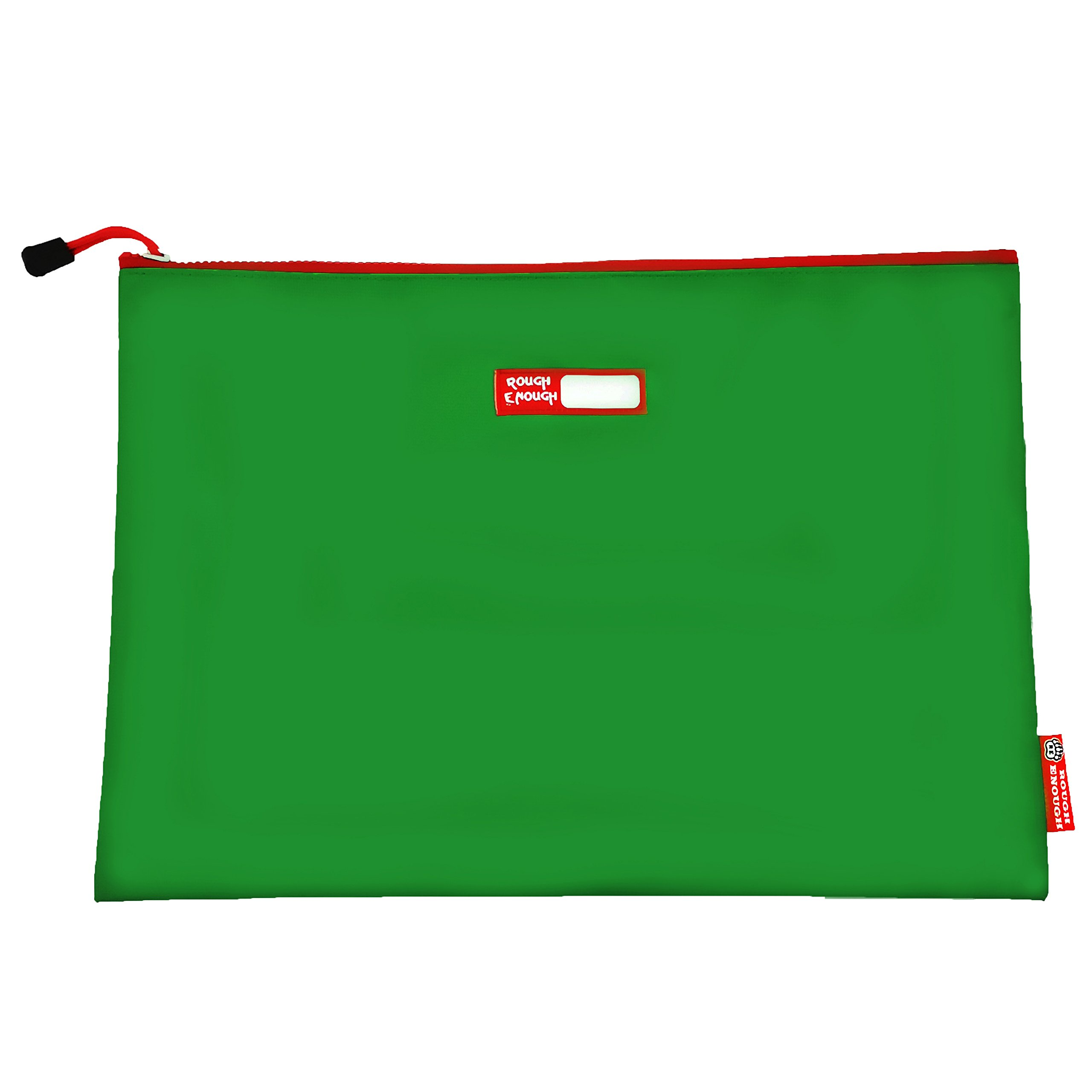 Rough Enough Tarpaulin Classic Durable Big Document Pouch with Zippered A4 Size Important Storage Envelope Holder Large File Folder for Filing Accessories Pocket Organizer for School Business Green
