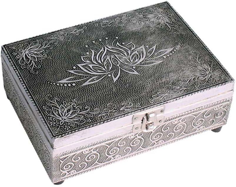 FindSomethingDifferent Caja para tarot con diseño de flor de loto en relieve, madera, forro de fieltro, color plateado: Amazon.es: Juguetes y juegos