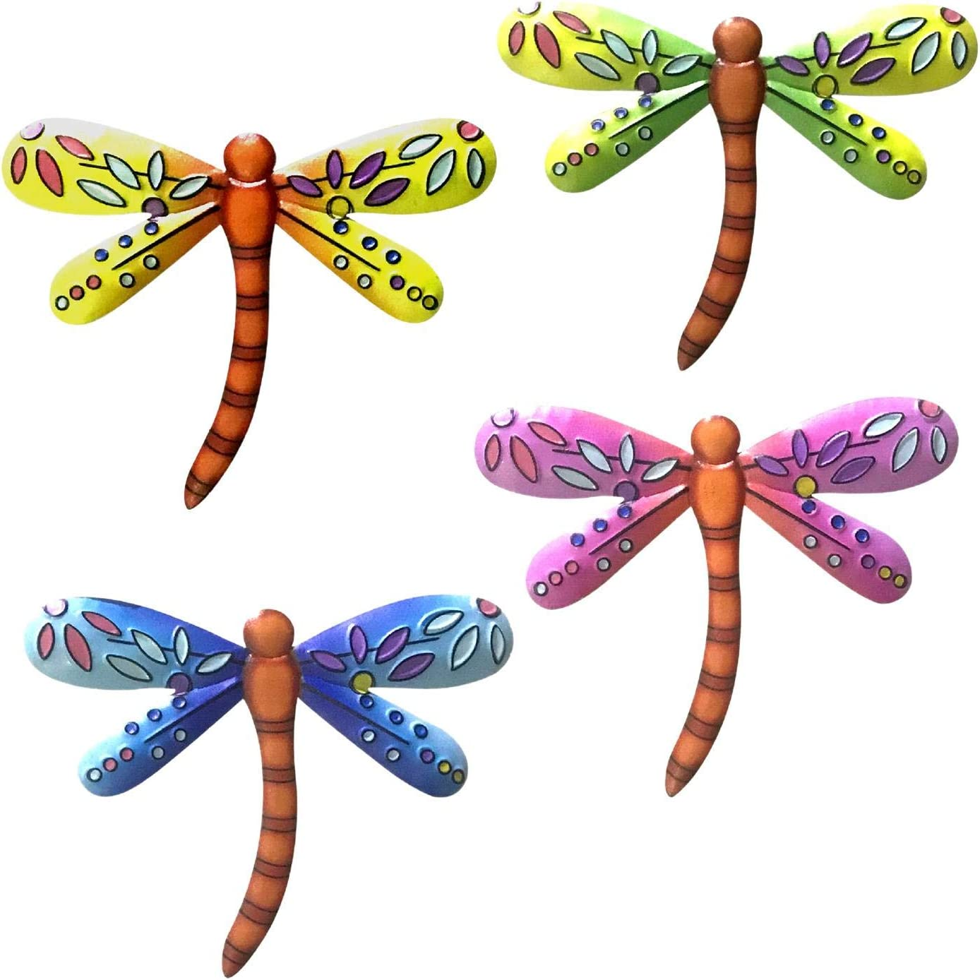 4pcs Metal Dragonfly Garden Wall Decor Outdoor Fence Art Outside Hanging Decorations for Living Room Bedroom, Dragonfly Hanging Ornament Art Decor