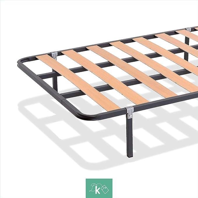 Dreaming Kamahaus SOMIER de lámina Ancha Estructura de 30x30 | Láminas de Chopo | con Patas cuadradas 27 cm | Fabricado en España |135 x 190 cms.|