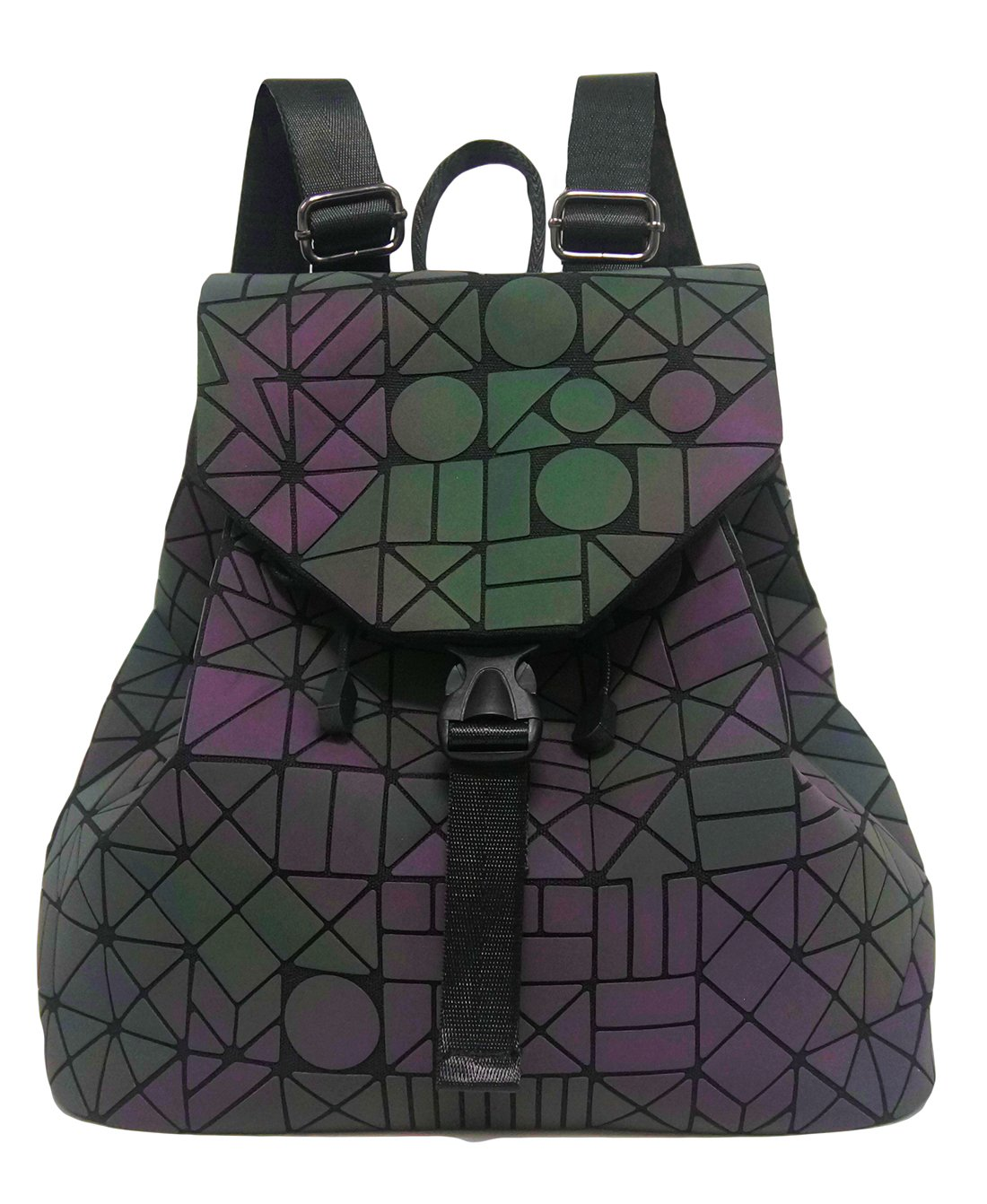 Roffatide Geometric Luminous Rhombus Laser Sequins Backpack Shoulder Bag Satchel Rucksack for Women and Men Flash