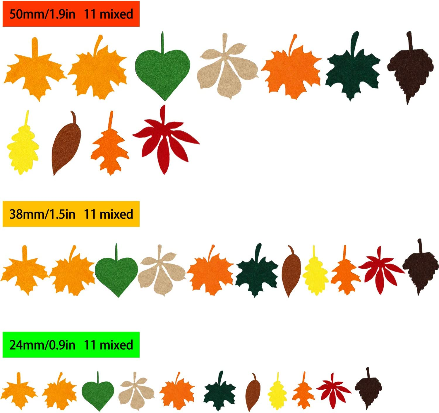 528 Pieces Leaf Stickers Felt Leaf Fall Stickers Maple Leaf Decals Assorted Autumn Leaf Decorations for Thanksgiving Party Craft Ornaments
