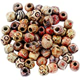 Electomania Printed Wooden Beads Dirty Braid Hair Ring (Multicolour, 12 mm) - Pack of 100