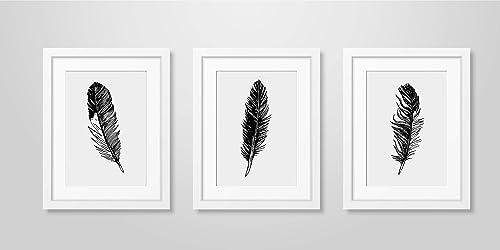 Feather Print Set Feather Wall Art Minimalist Art Feather Wall Art Print